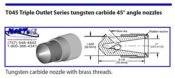 Angle Nozzle- 45 degree triple outlet