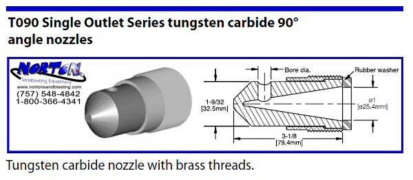 Single outlet 90 degree blast nozzle