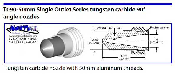nozzle- 90 degree single outlet 50mm